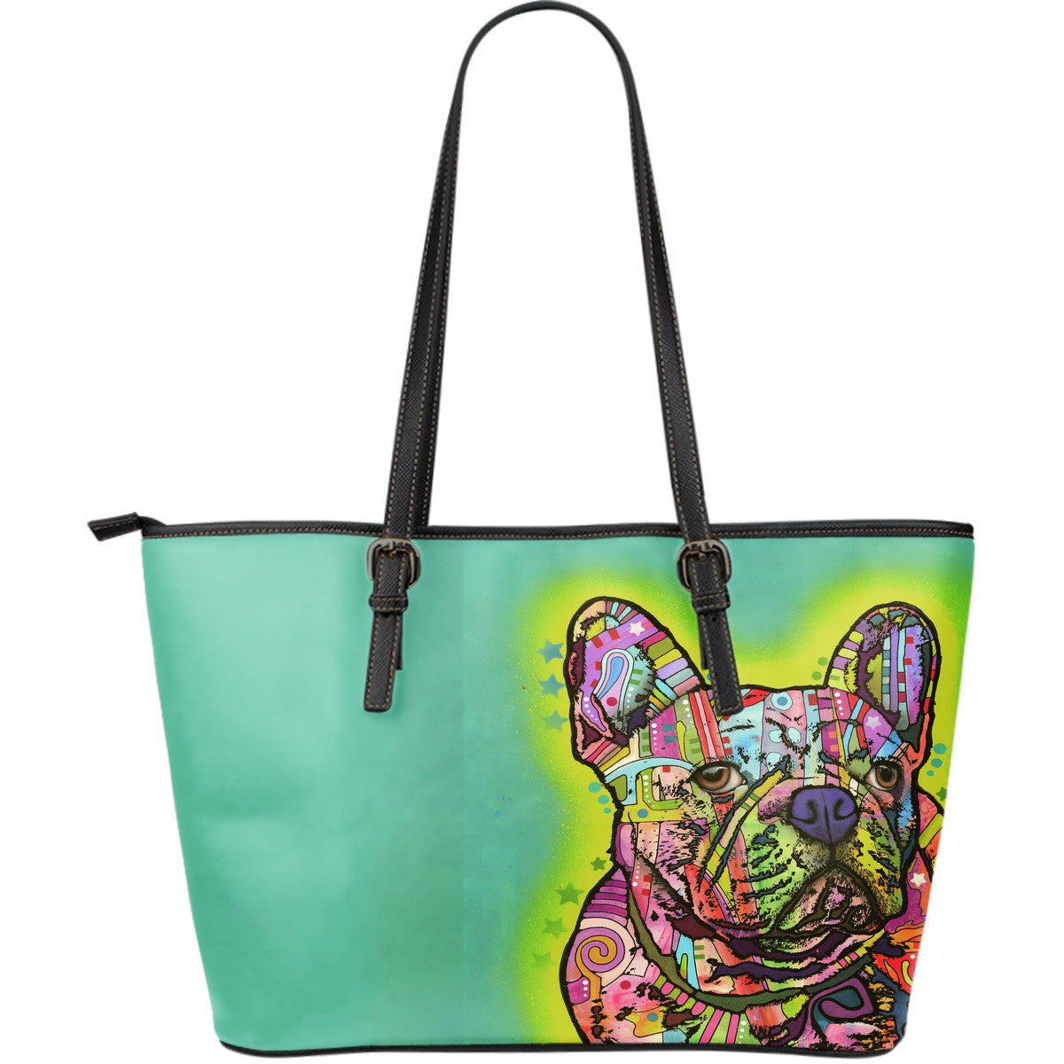 French Bulldog Series Leather Tote Bag (Large)