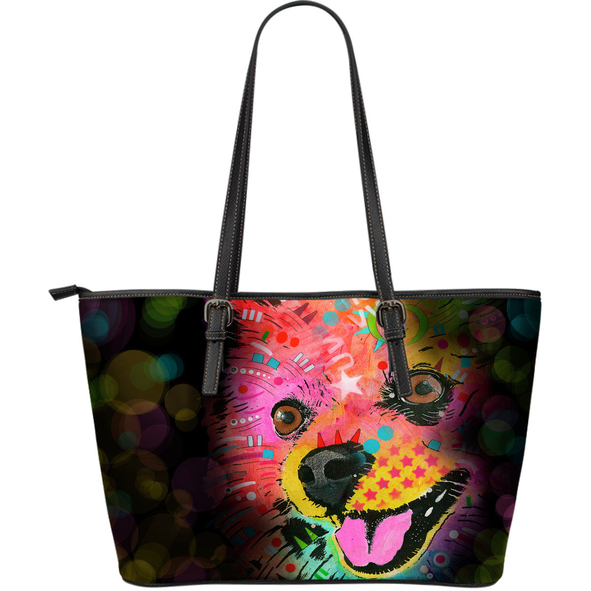 Pomeranian Leather Tote Bags (Large)