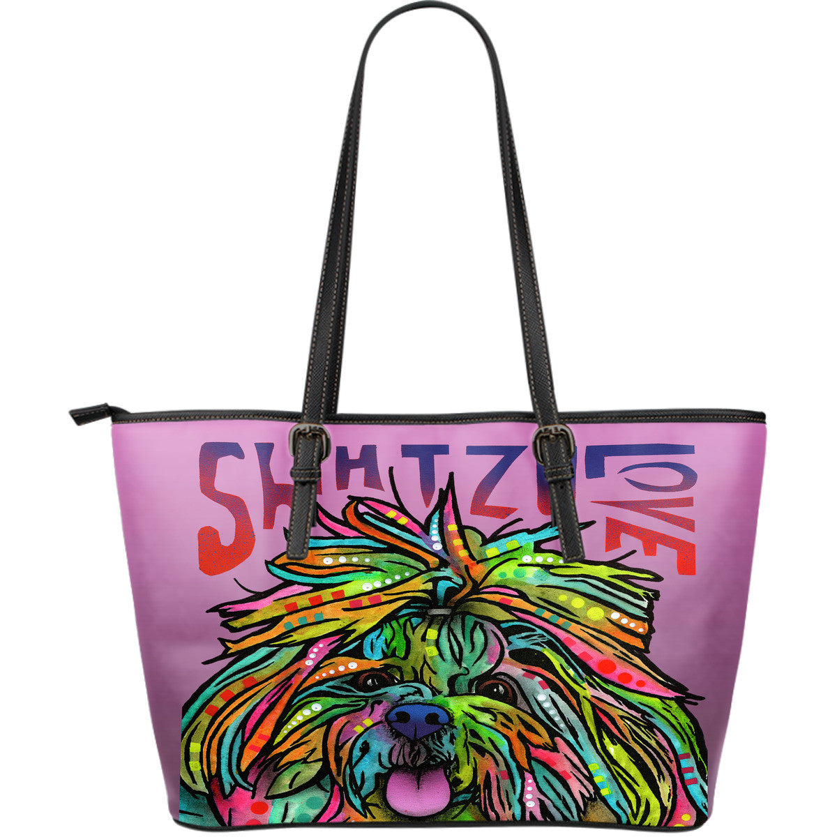 Shih Tzu Love Leather Tote Bags (Large)