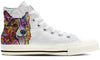 Corgi Women's High Top Shoes (WHITE)