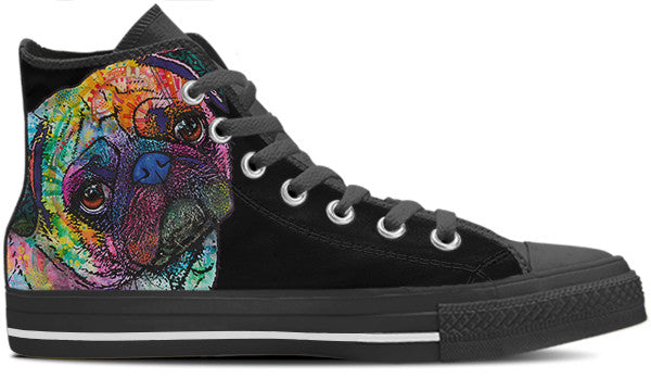 Pug Men's High Top Shoes (#1)