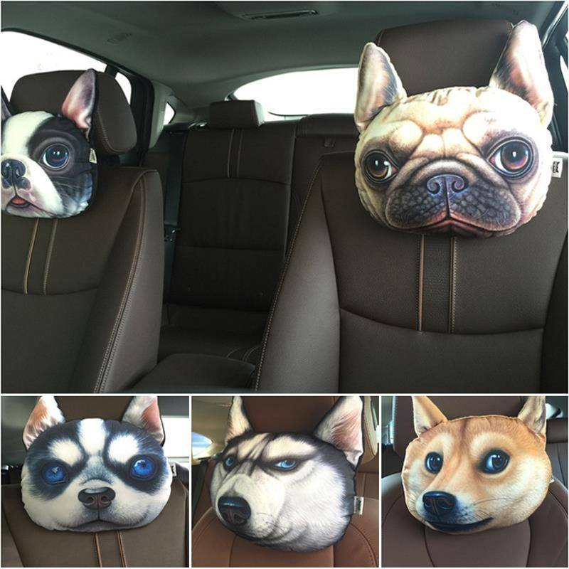 Product Pillow - 3D Printed Dog Face Car Headrest Pillows