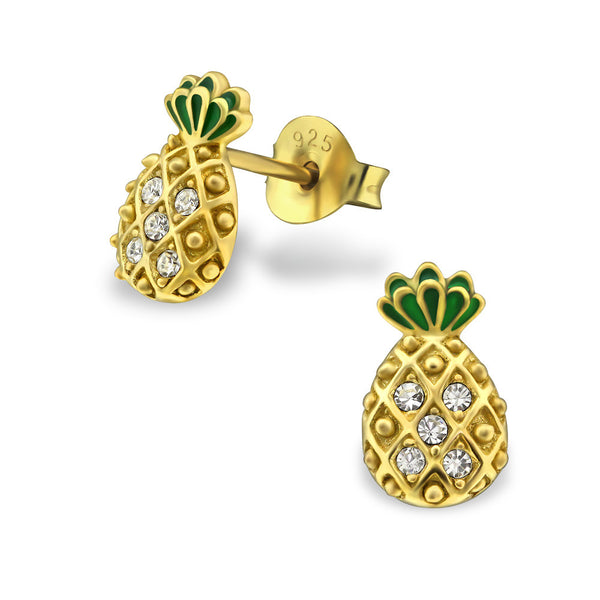 Gold Crystal Pineapple Studs