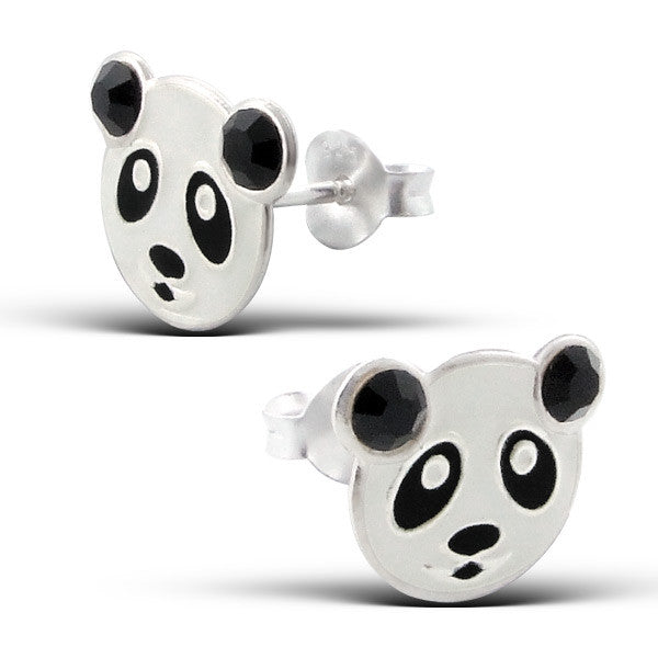 Black and White Panda Face Studs