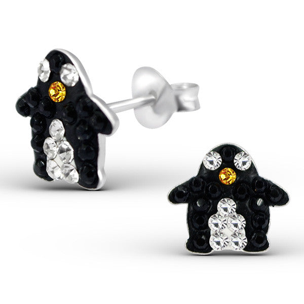 Black Crystal Penguin Studs