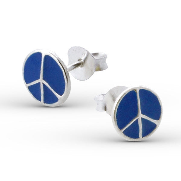 Tiny Blue Peace Sign Studs