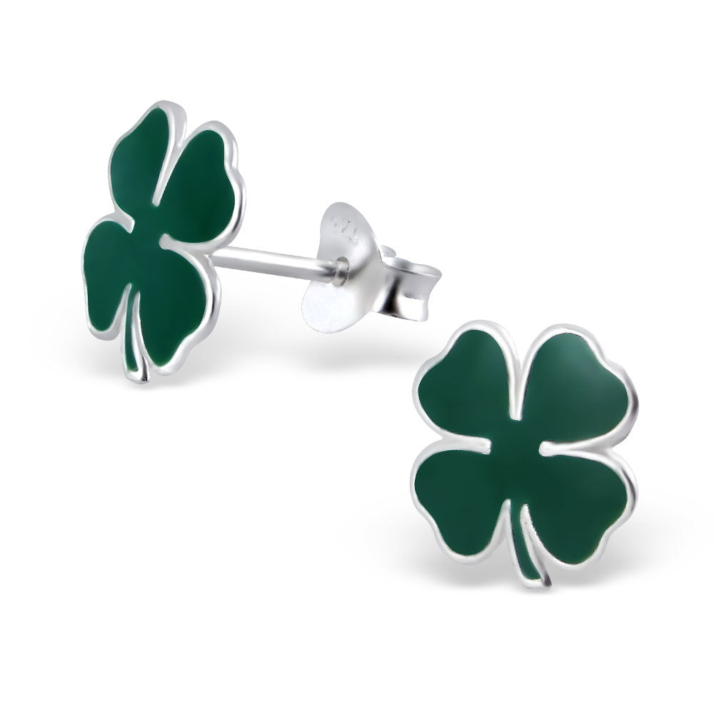 Green Four Leaf Clover Studs