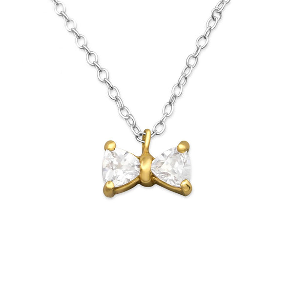 Gold Crystal Bow Necklace