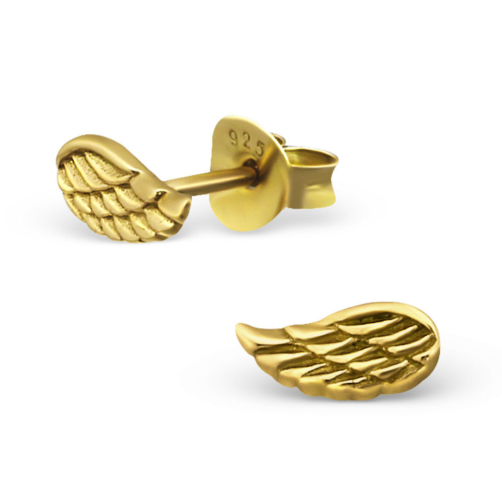 Tiny Gold Angel Wing Studs