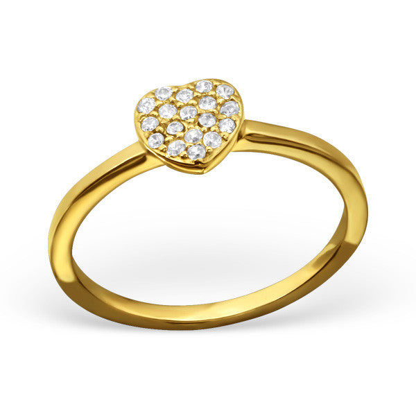 Gold Plated Crystal Heart Ring