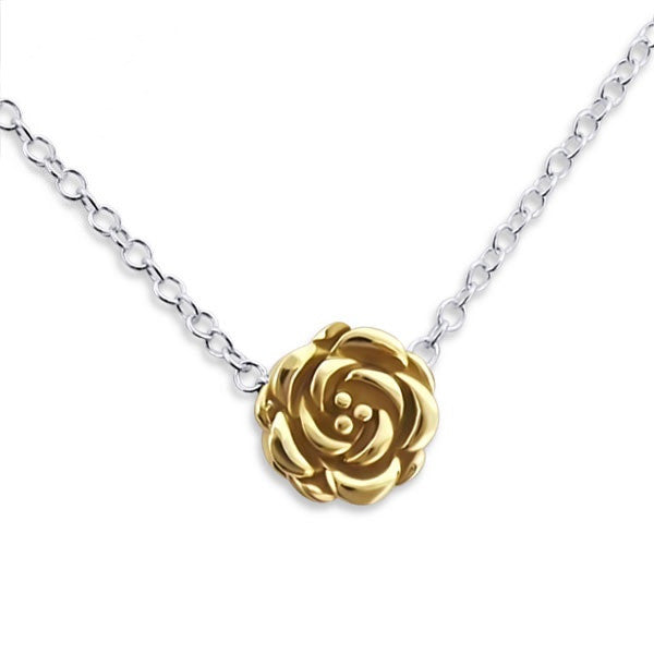 Tiny Gold Rose Necklace