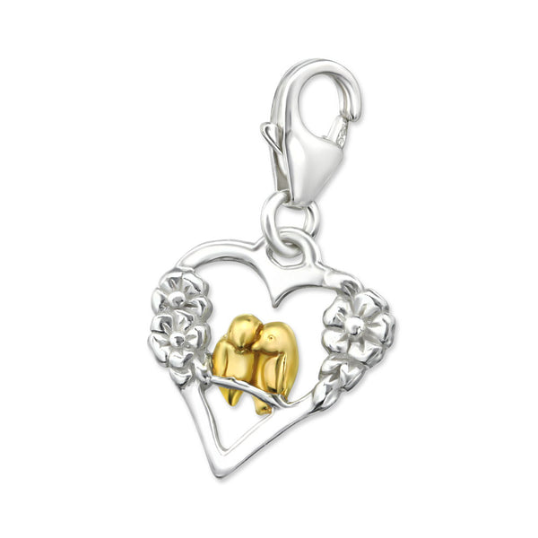 Silver and Gold Lovebirds Heart Charm