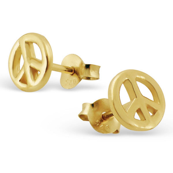 Gold Peace Sign Studs