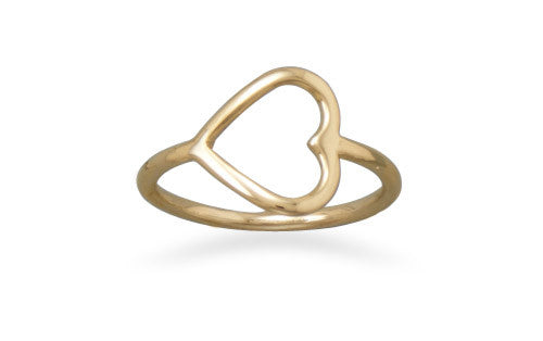 14kt Gold Plated Sideways Open Heart Ring