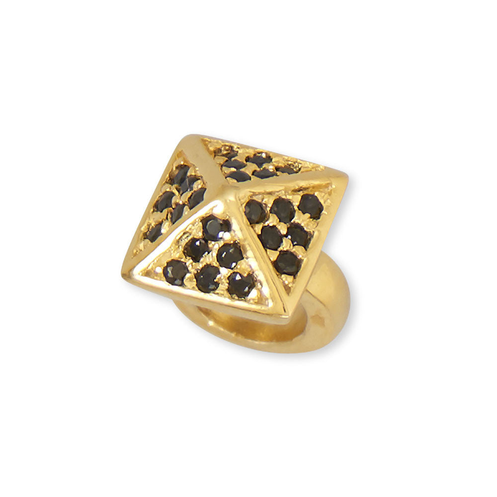 14kt Gold Pyramid Bead ft Black CZ's