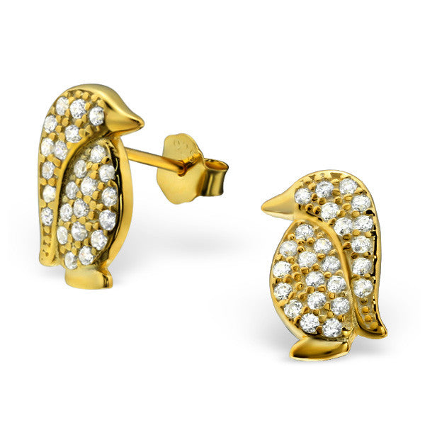 Gold Crystal Penguin Studs