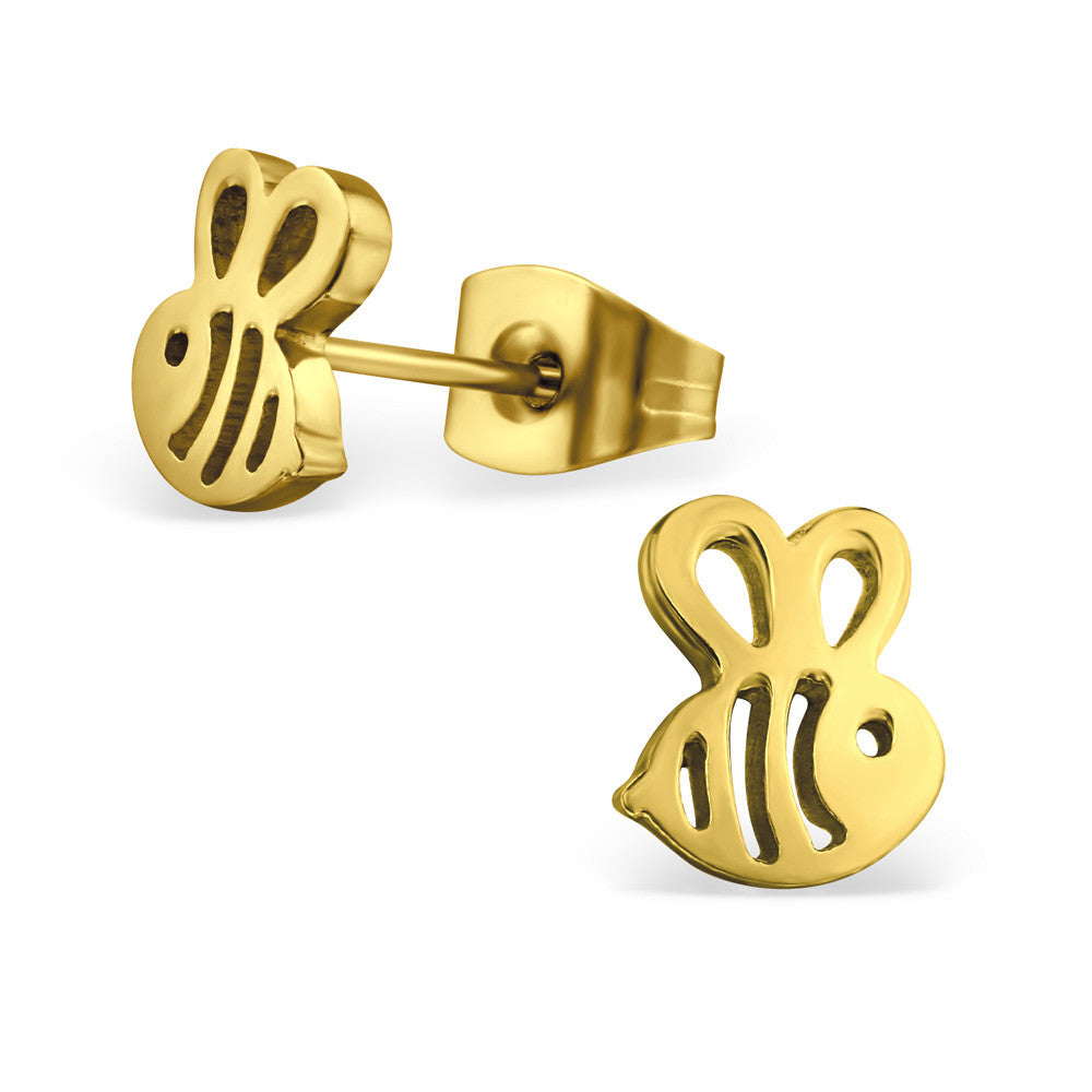 Gold Steel Bee Studs