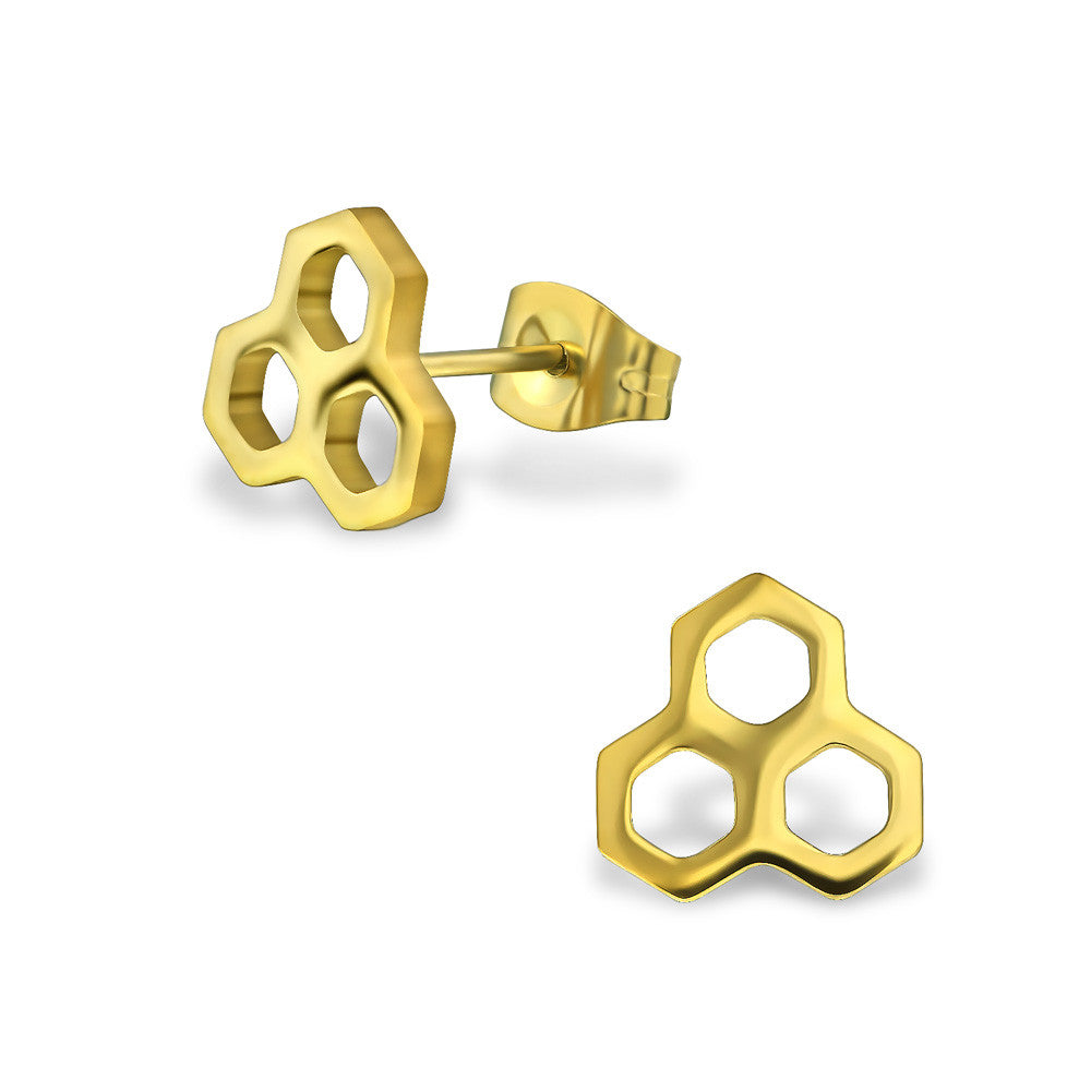 Gold Steel Honeycomb Studs