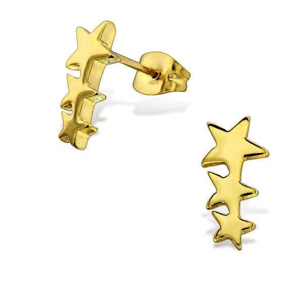 Gold Steel Shooting Stars Studs