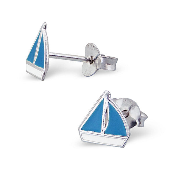 Tiny Blue Sailboat Studs