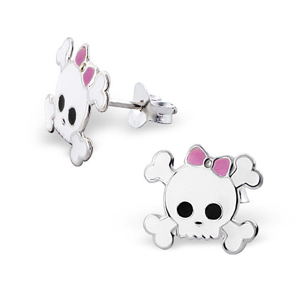 Pink Bow Skull Studs
