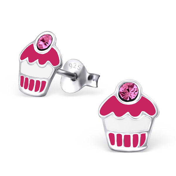 Tiny Pink Cupcake Studs with Pink CZ's