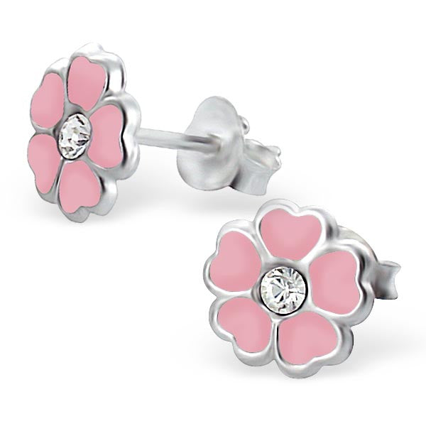 Tiny Pink Flower Studs ft Clear CZ Centers