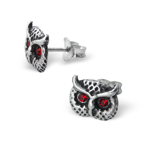 Red Crystal Eyed Owl Face Studs