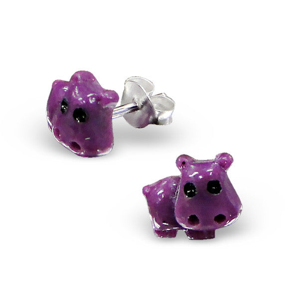 Tiny Purple Hippo Studs