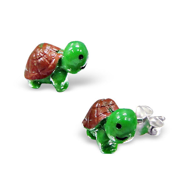 Tiny Green Resin Turtle Studs
