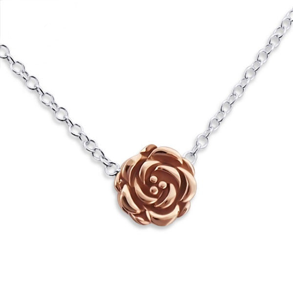 Tiny Rose Gold Rose Necklace