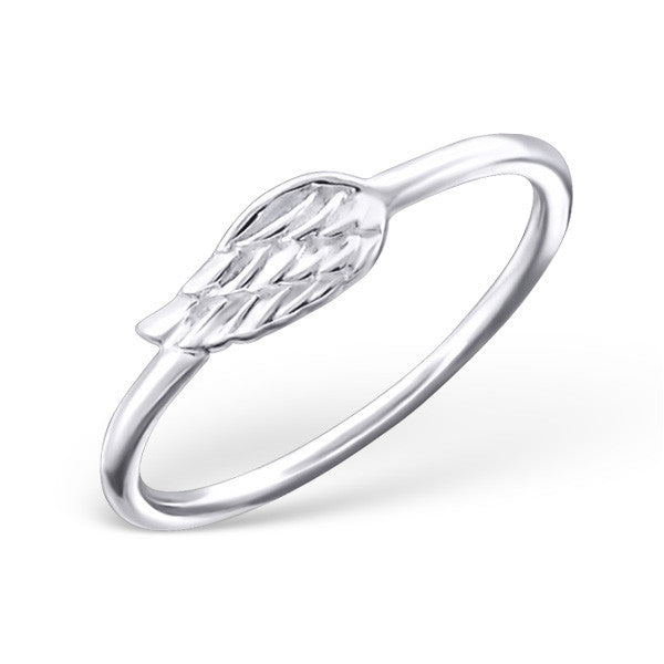 Tiny Silver Angel Wing Ring