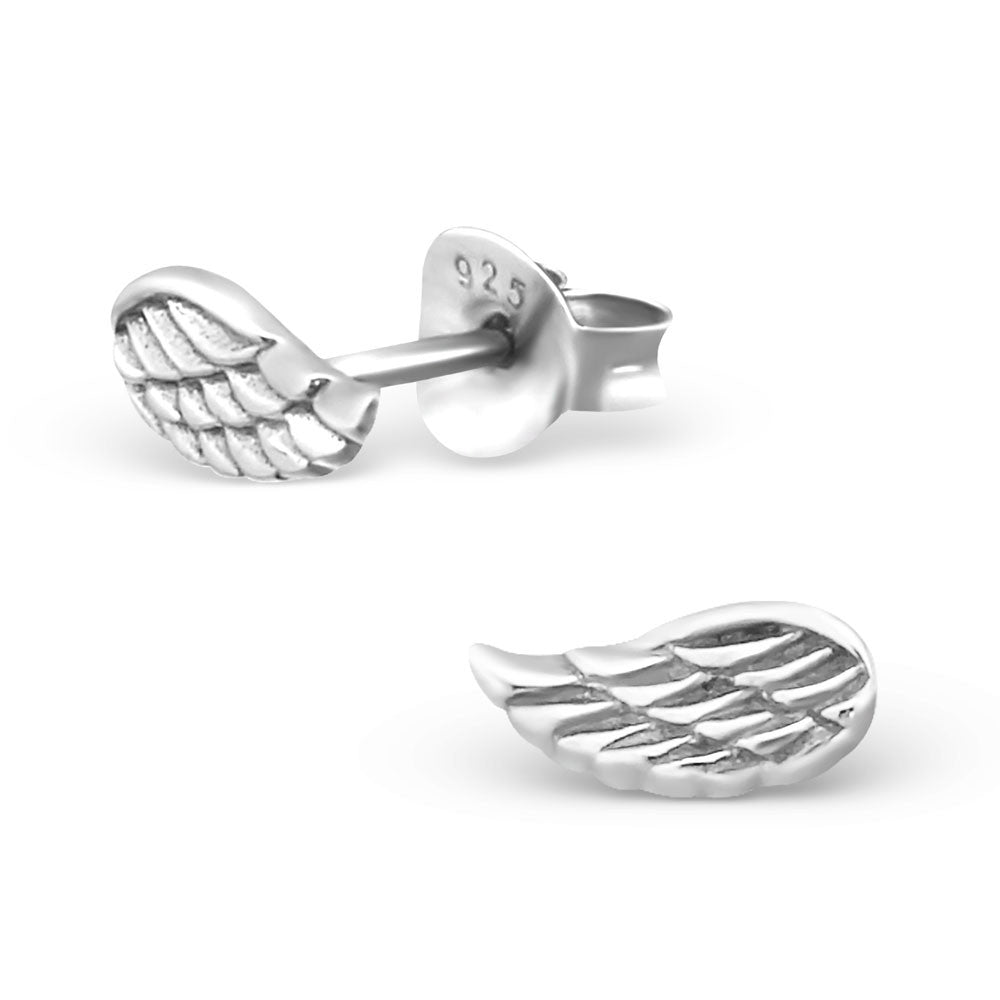 Tiny Silver Angel Wing Studs