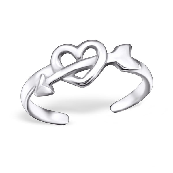 Silver Heart and Arrow Toe Ring