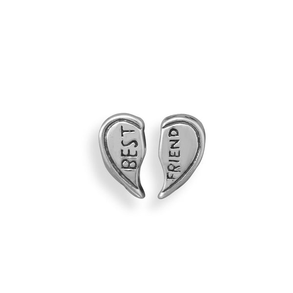 Silver BFF Heart Set Large Hole Beads