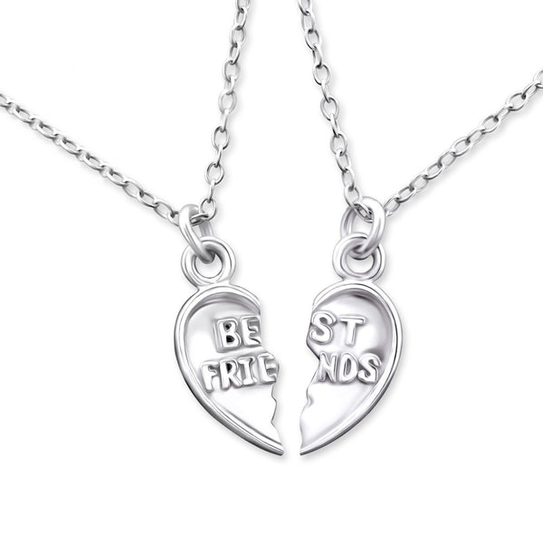 Silver Best Friends Heart Necklace Set