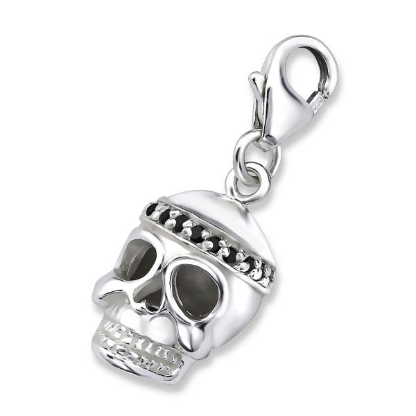 Silver Skull Charm with Black CZ's