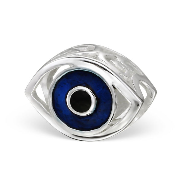 Silver Blue Evil Eye Large Hole Bead