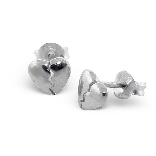 Tiny Silver Broken Heart Studs