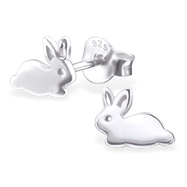 Tiny Silver Rabbit Studs