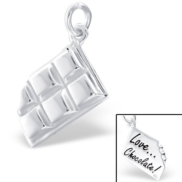 Silver Bitten Chocolate Bar Charm