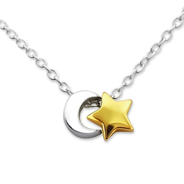 Silver Crescent Moon & Gold Star Necklace