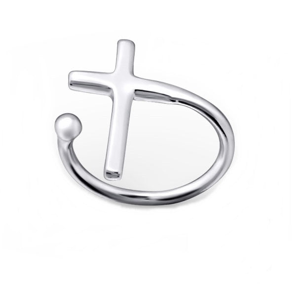 Silver Cross Ear Cuff