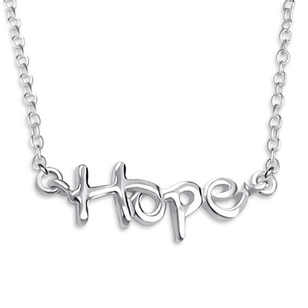 Silver Cursive Hope Necklace