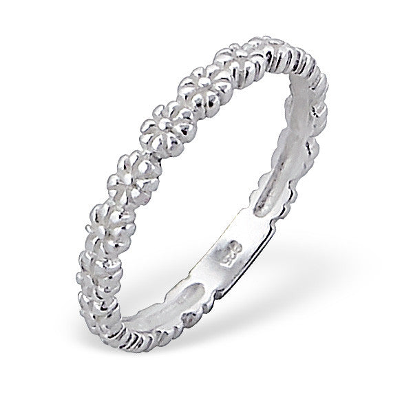 Silver Daisy Band Ring