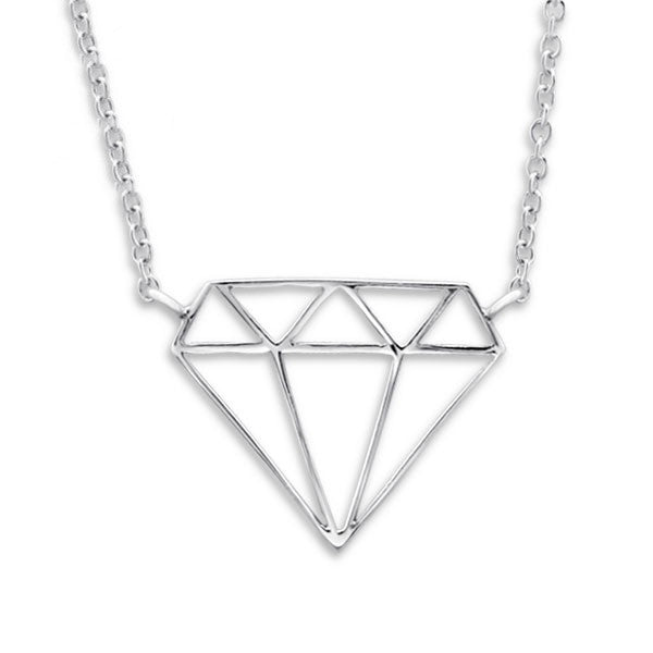 Silver Diamond Outline Necklace