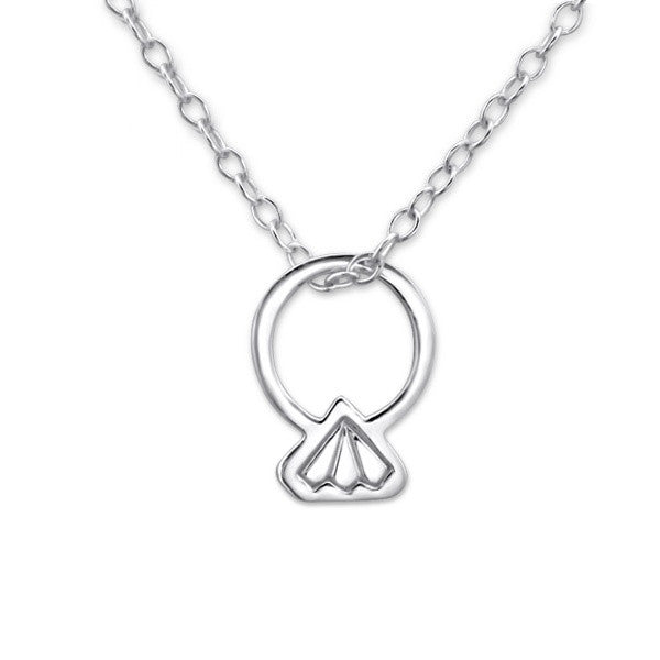 Silver Diamond Ring Necklace