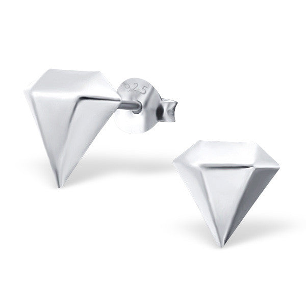 Tiny Silver Diamond Shape Studs