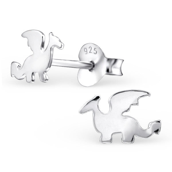 Tiny Silver Dragon Studs