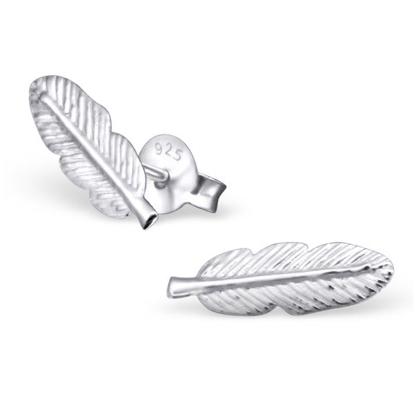 Tiny Silver Feather Studs